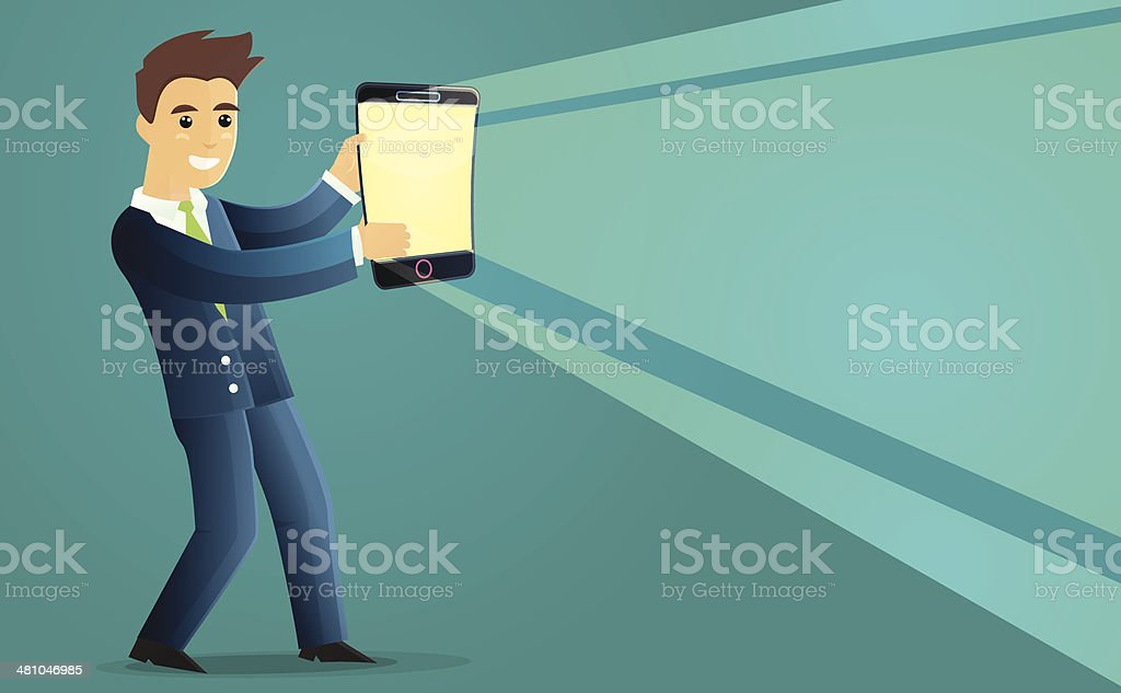 Man holding smartphone as lantern royalty-free stock vector art