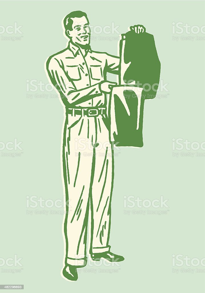 Man Holding up Pressed Pants royalty-free stock vector art