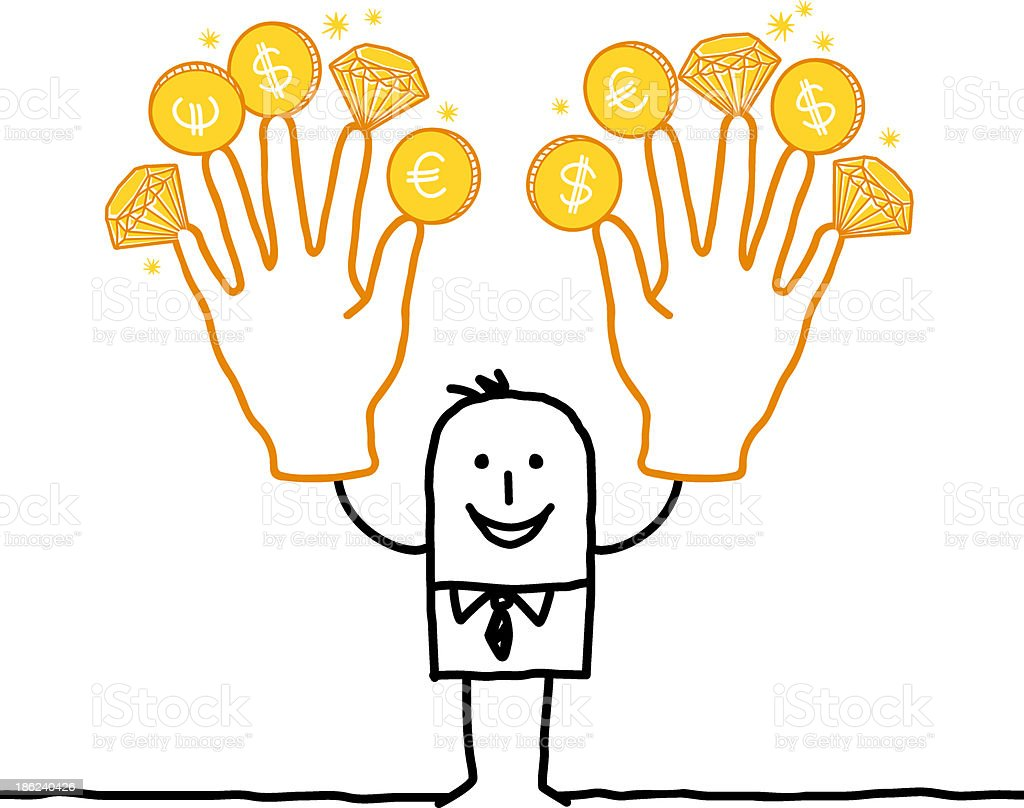 man holding up rich fingers with gold coins and diamonds royalty-free stock vector art