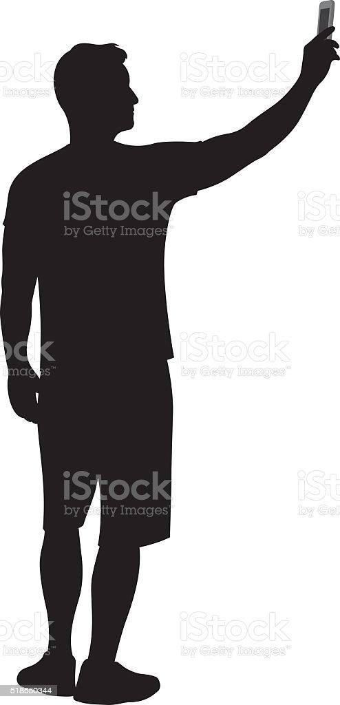 Man Holding Up Smartphone Silhouette vector art illustration