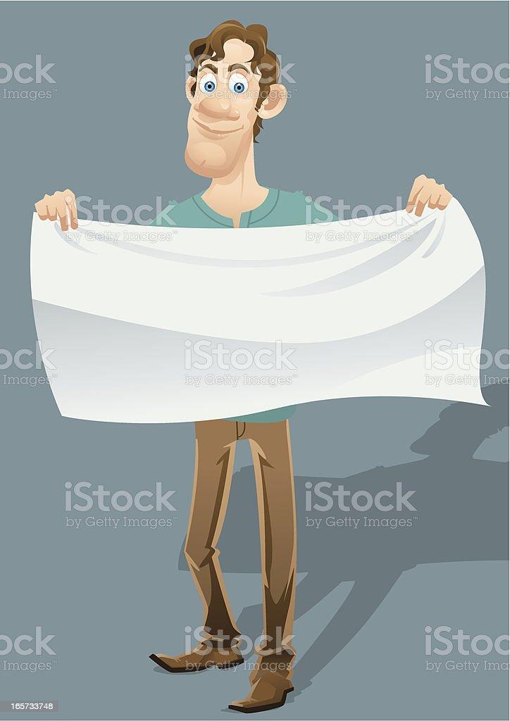 Man holding white cloth royalty-free stock vector art