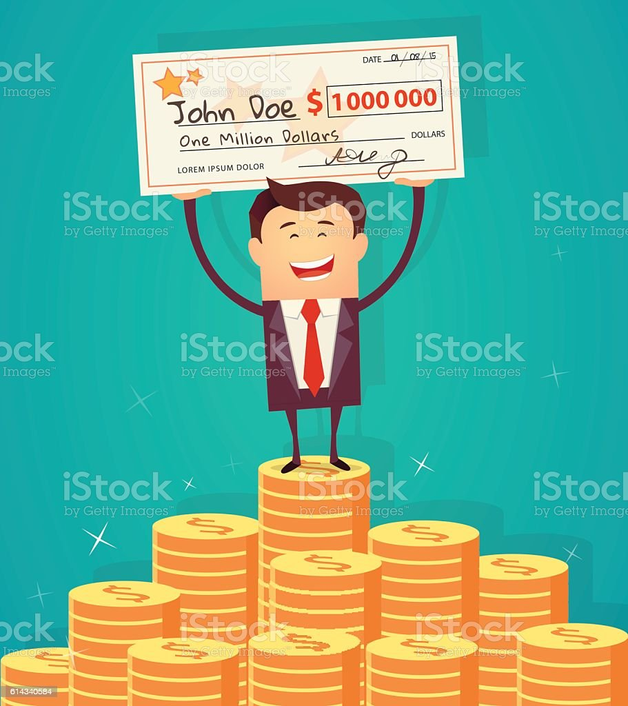 Man holding winning check for one million dollars. Vector illustration vector art illustration