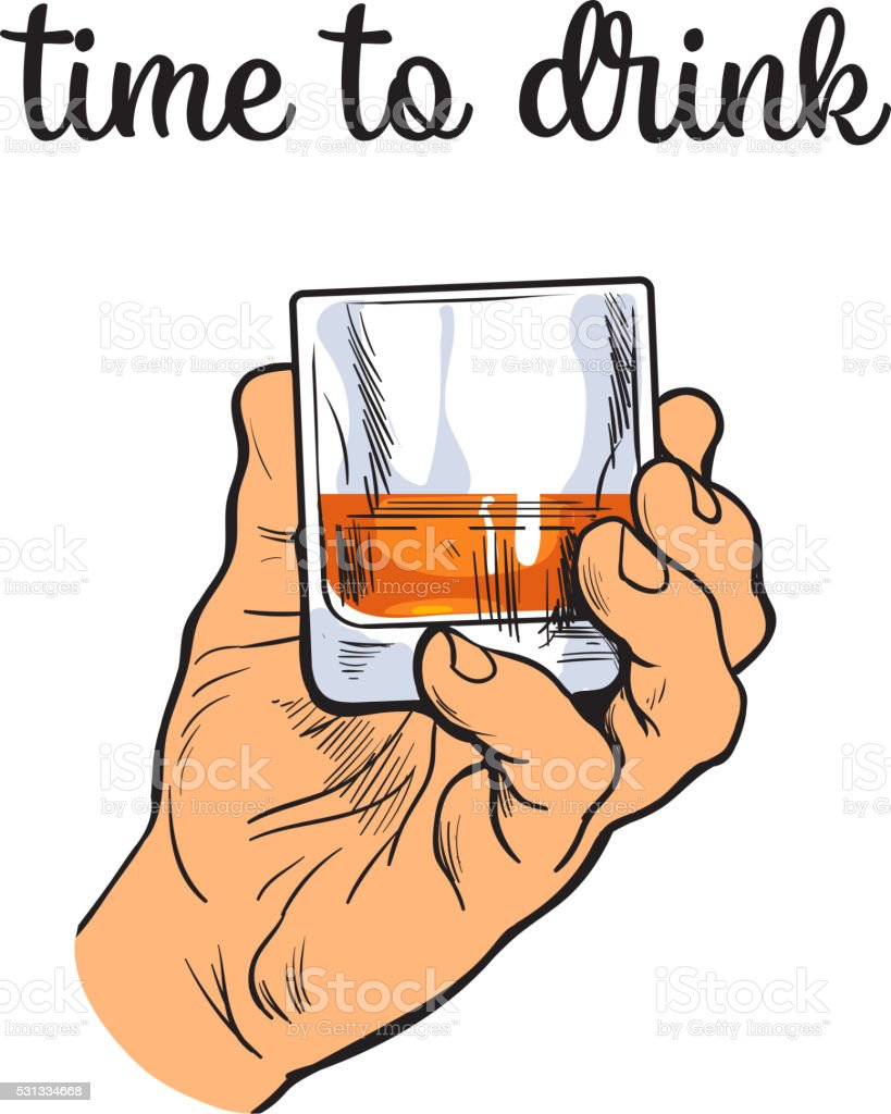Man holds a stack with transparent alcohol vector art illustration