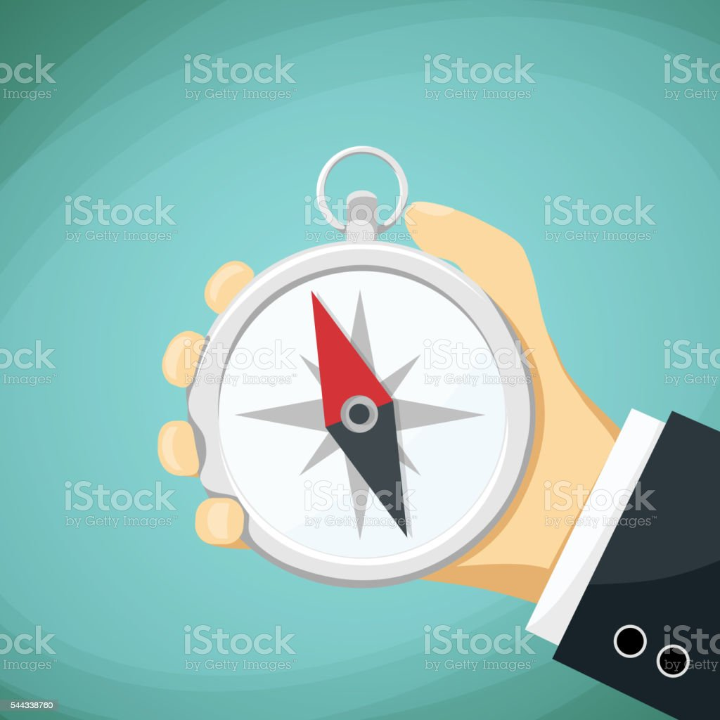 Man holds in his hand a compass. vector art illustration