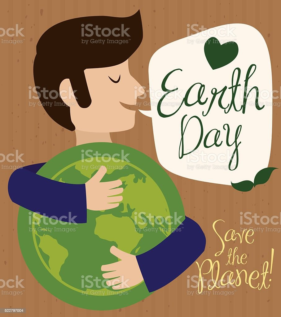 Man Hugging World Representation in Earth Day vector art illustration