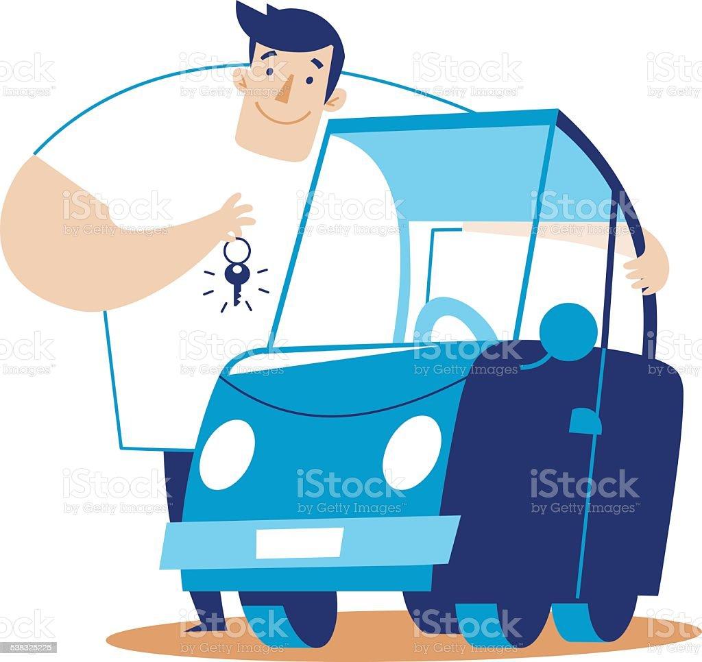 man hugs a car vector art illustration