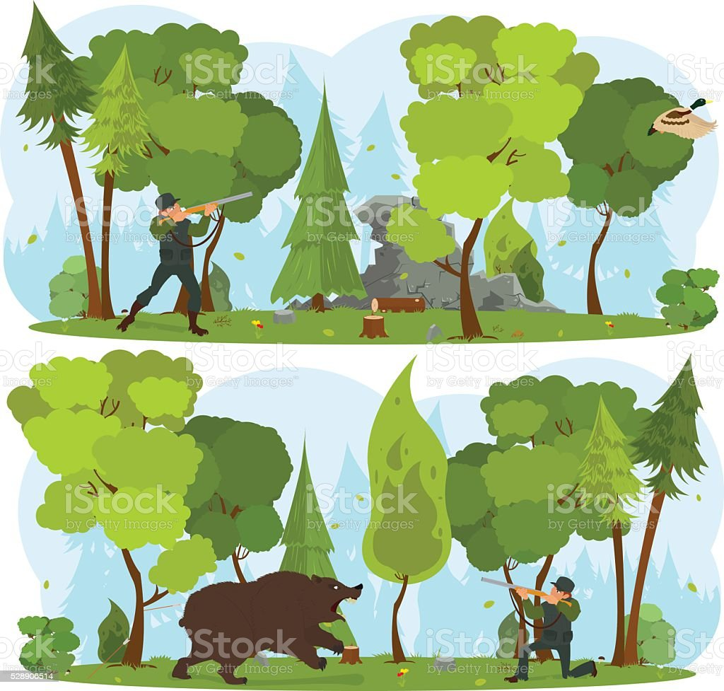 man hunt for a duck in the forest. vector art illustration