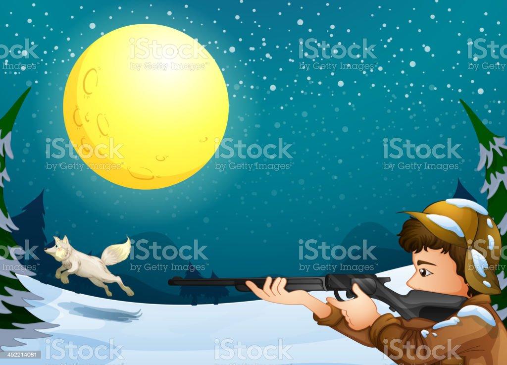 man hunting an animal royalty-free stock vector art