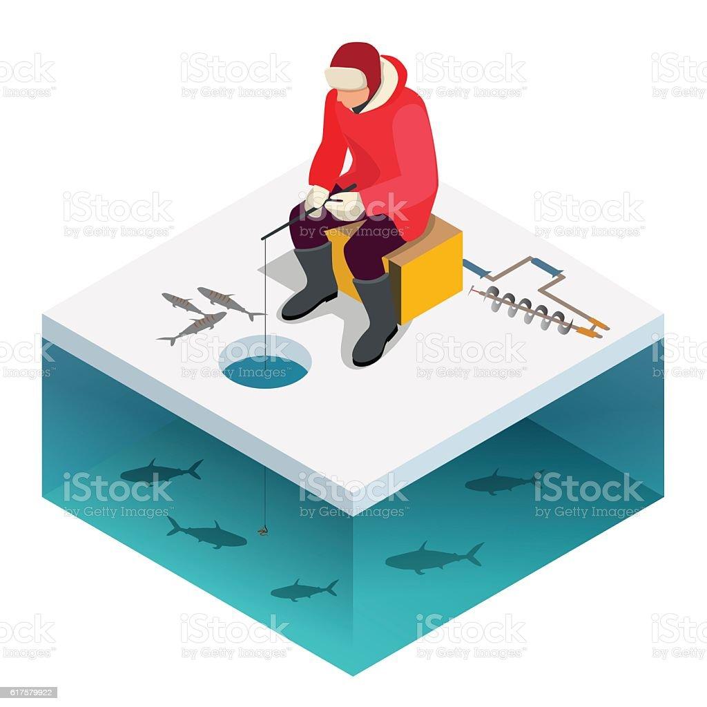 Man ice fishing on a lake in winter vector art illustration