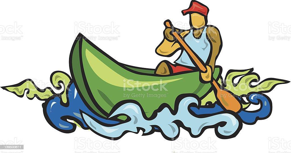 Man in a canoe royalty-free stock vector art