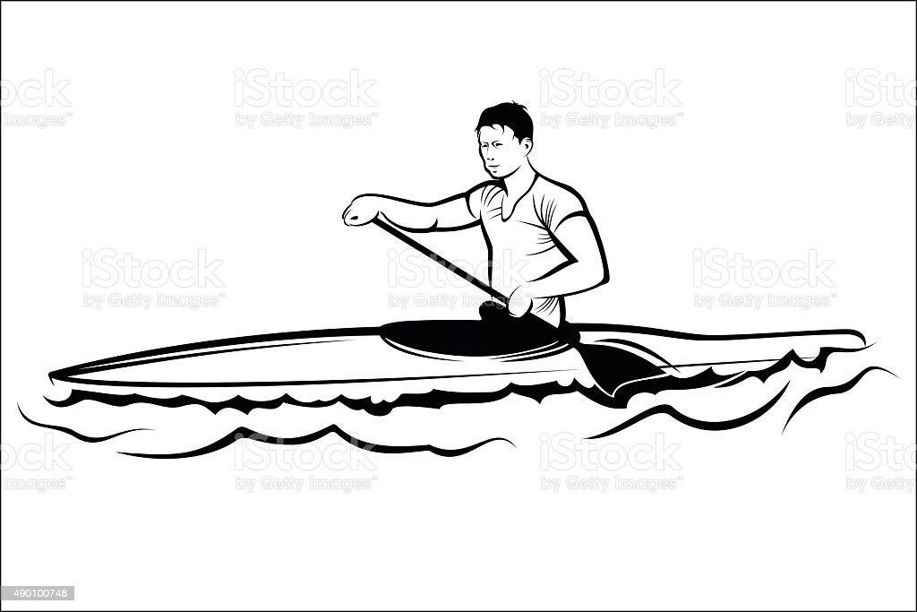 Man in a kayak royalty-free stock vector art