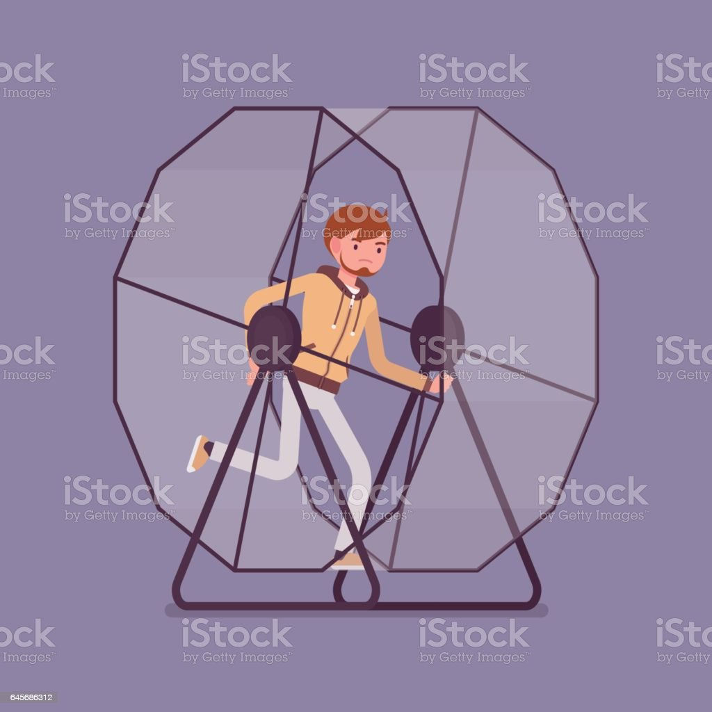 Man in a running wheel vector art illustration