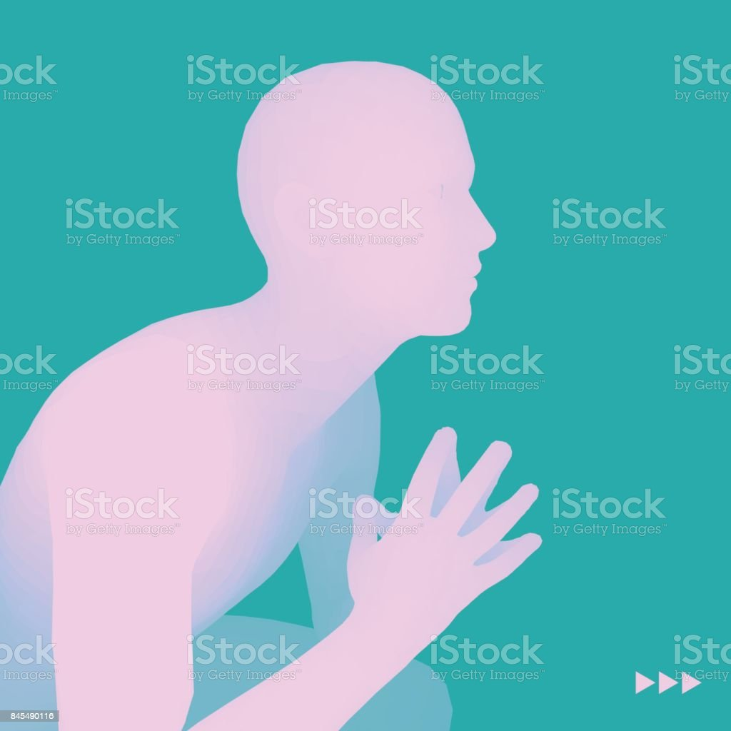Man in a Thinker Pose. 3D Model of Man. Business, Science, Psychology or Philosophy Vector Illustration. vector art illustration