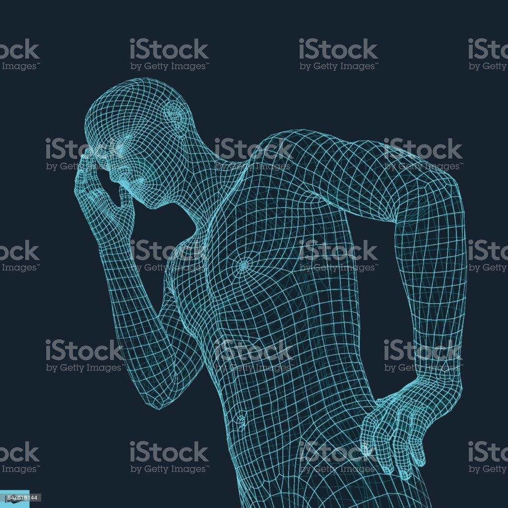 Man in a Thinker Pose. 3D Model of Man. Geometric Design. Business, Science, Psychology or Philosophy Vector Illustration. vector art illustration