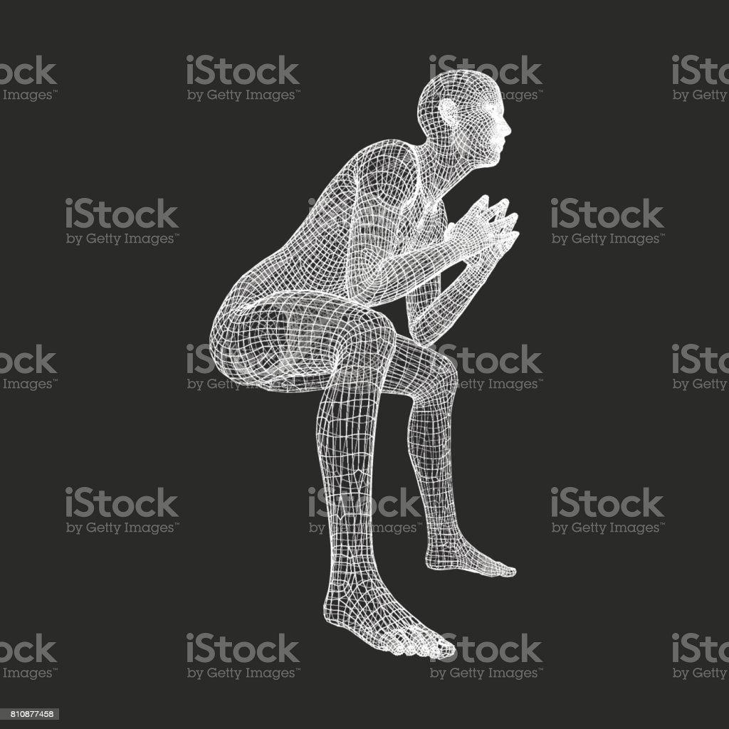 Man in a Thinker Pose. 3D Model of Man. Geometric Design. Human Body Wire Model. Business, Psychology or Philosophy Vector Illustration. vector art illustration