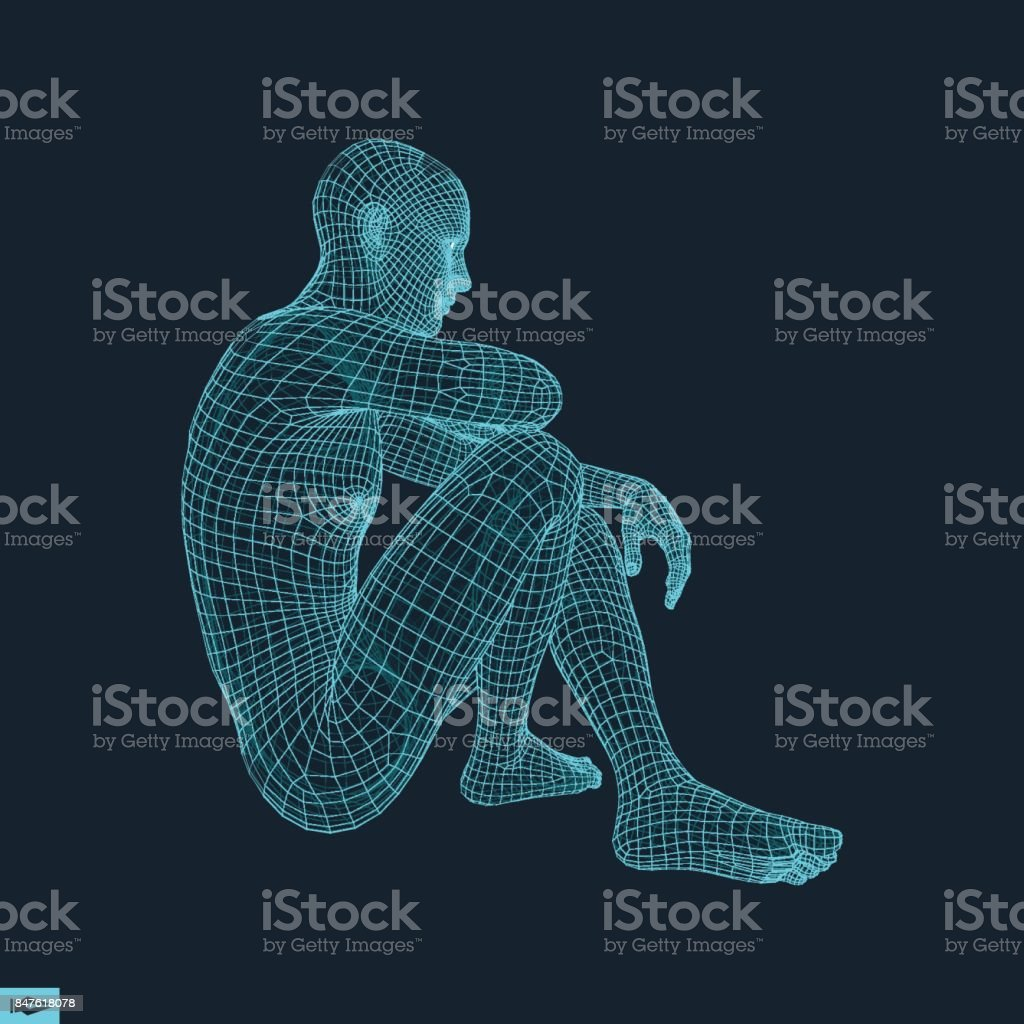 Man in a Thinker Pose. 3D Model of Man. Geometric Design. Human Body Wire Model. Business, Science, Psychology or Philosophy Vector Illustration. vector art illustration