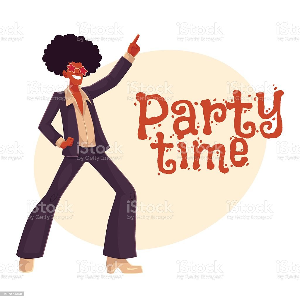 Man in afro wig and 1970s style clothes dancing disco vector art illustration
