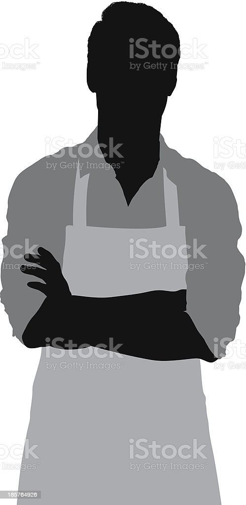 Man in apron standing with arms crossed vector art illustration