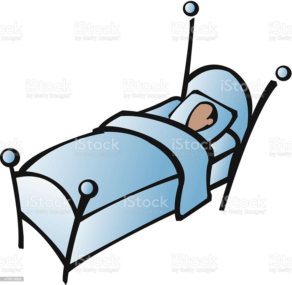 Man In Bed vector art illustration