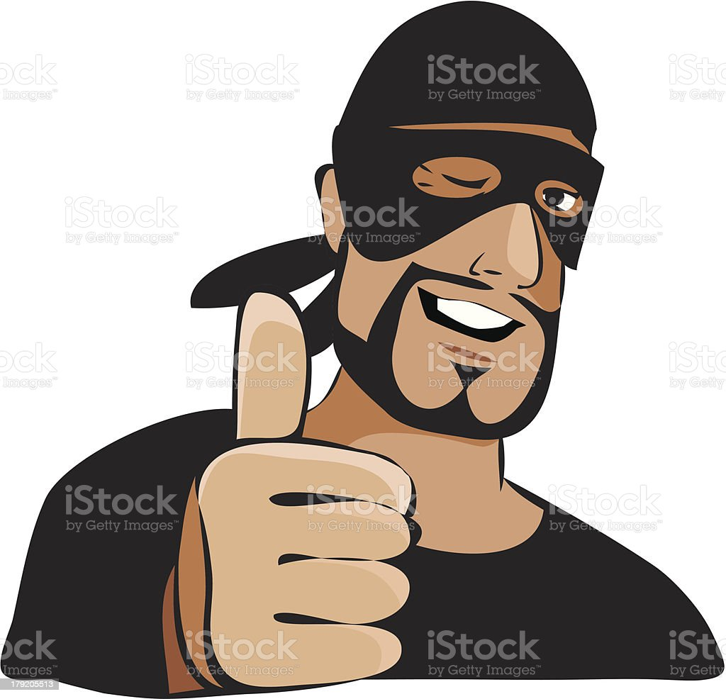 Man in black mask with thumb up royalty-free stock vector art