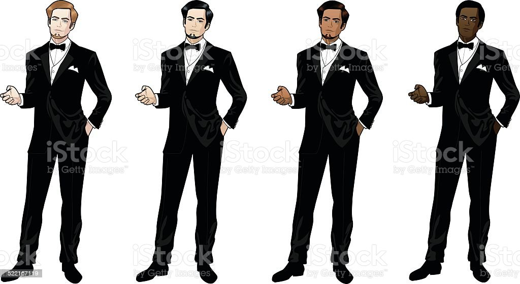 Man in black tuxedo and bow tie vector art illustration