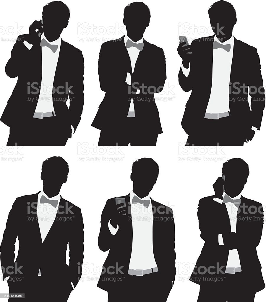 Man in bowtie vector art illustration
