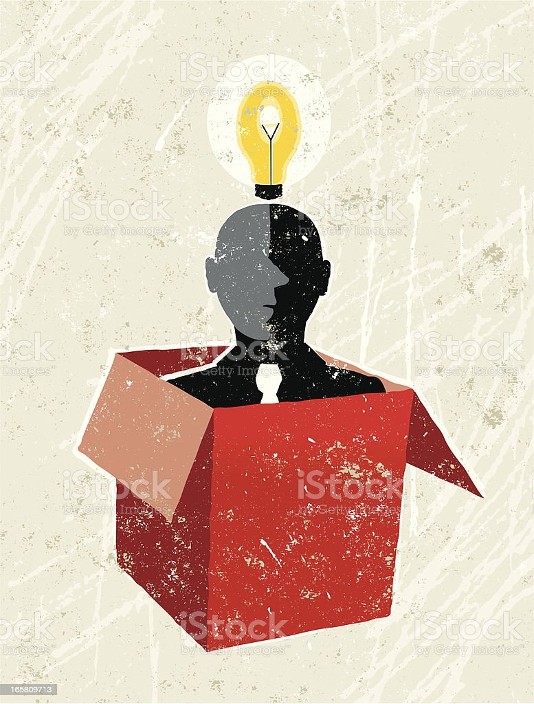 Man in Box with a Lightbulb Overhead vector art illustration