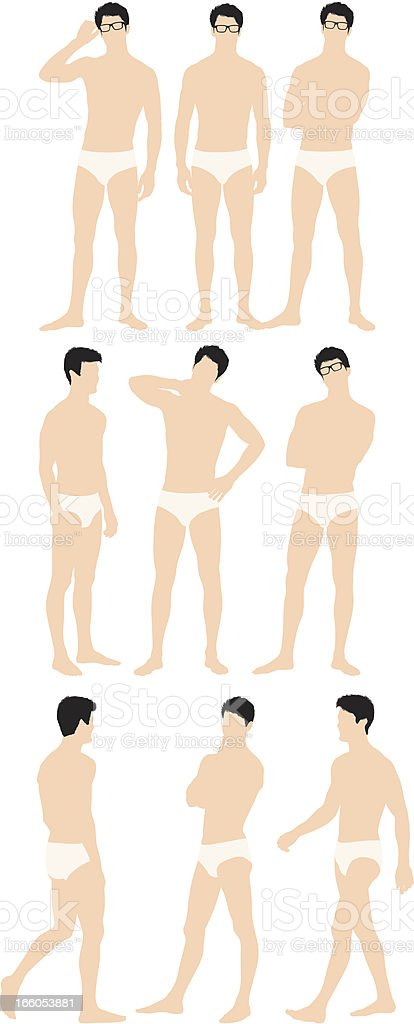 Man in briefs wearing eyeglasses vector art illustration