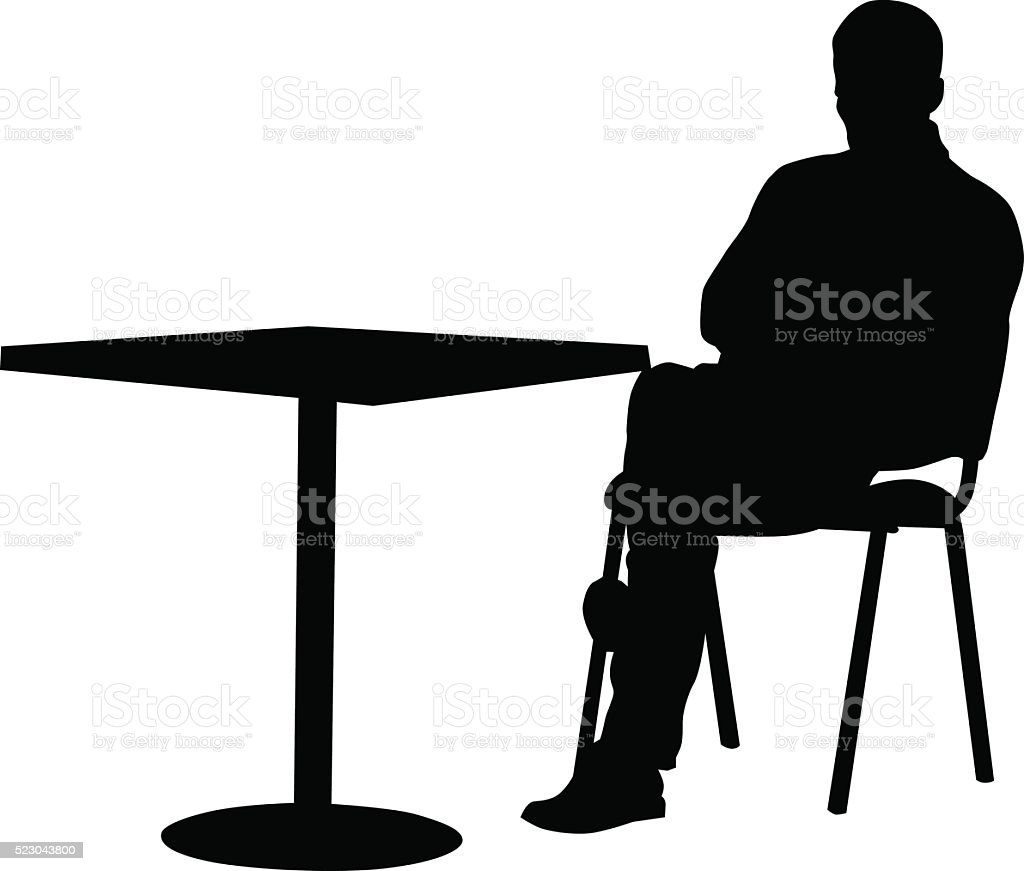 Man in cafe vector art illustration