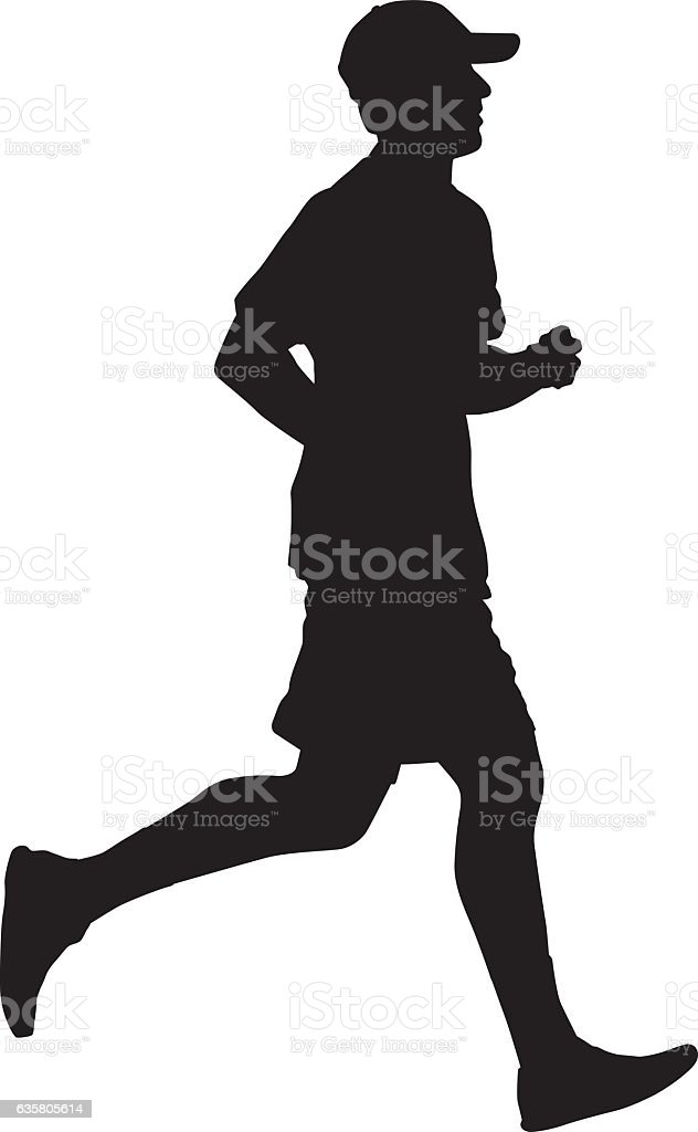 Man In Cap Jogging Silhouette vector art illustration