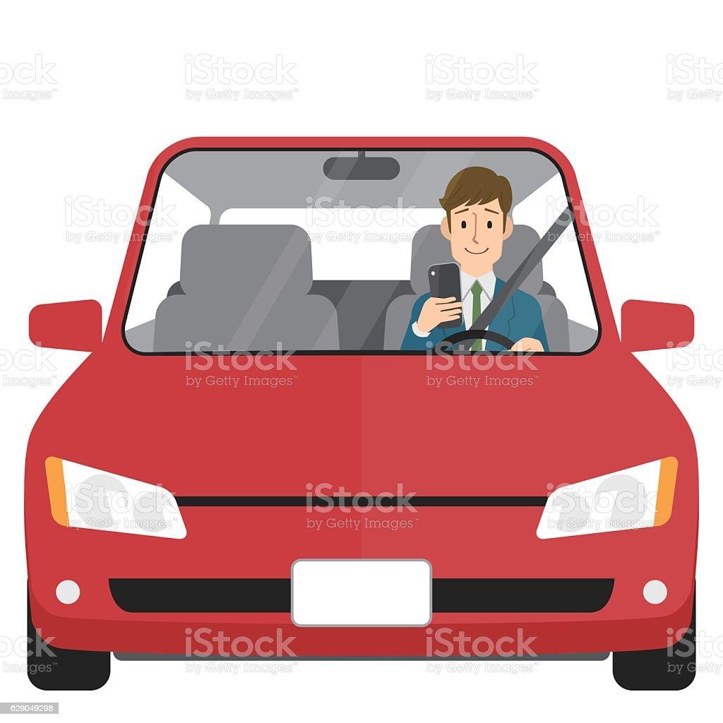 Man in car looking at smartphone vector art illustration