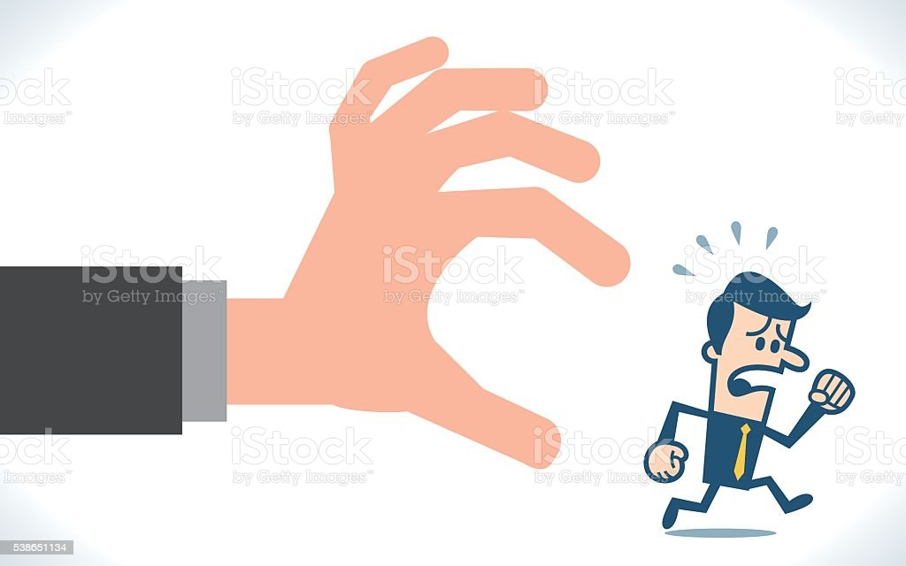 Man in casual running away from big hand. vector art illustration
