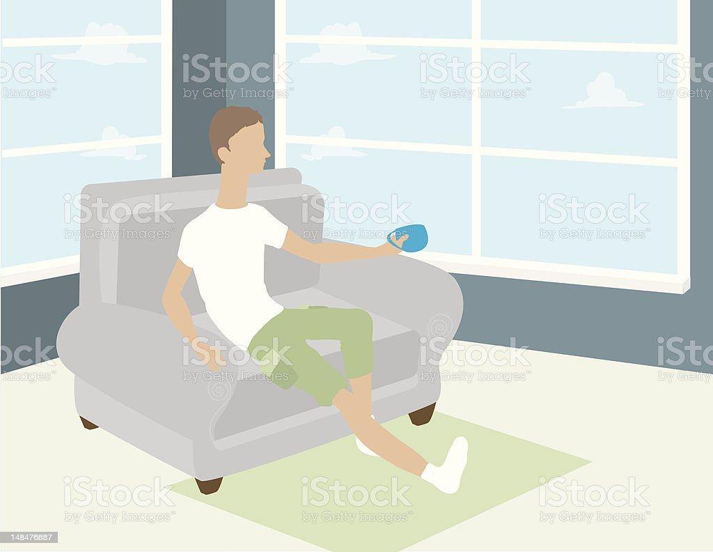Man in Chair with Coffee royalty-free stock vector art