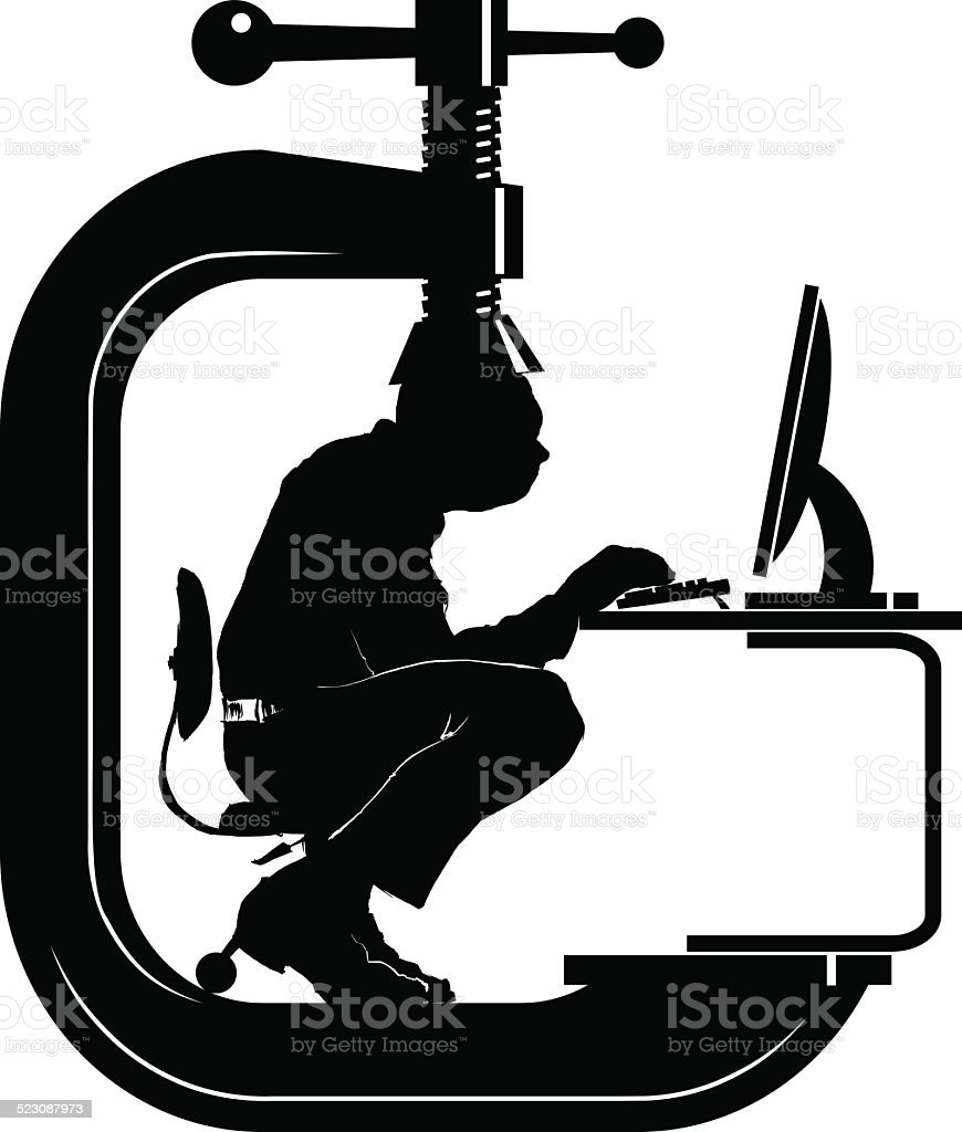 Man in clamp at computer B&W vector art illustration