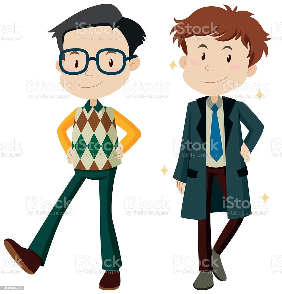 Man in different clothes vector art illustration