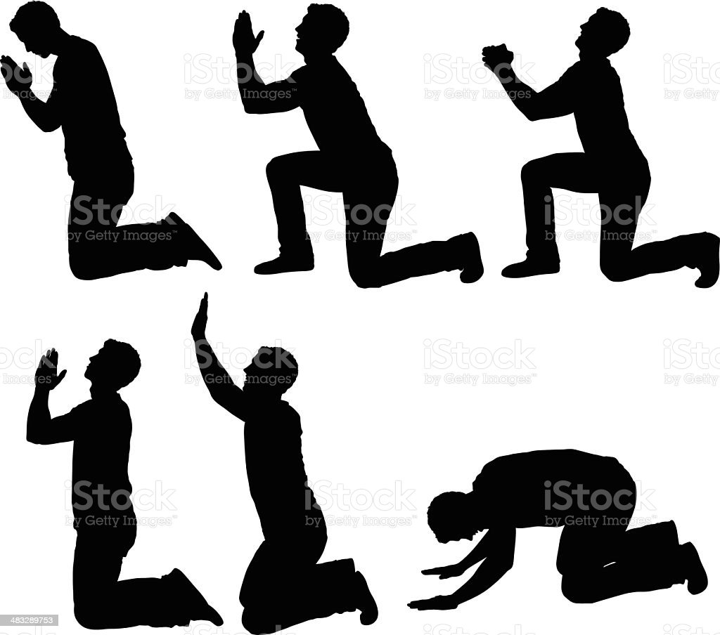 Man in different praying poses vector art illustration