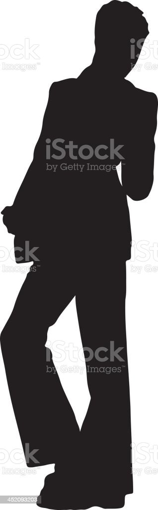 Man in disco suit silhouette royalty-free stock vector art