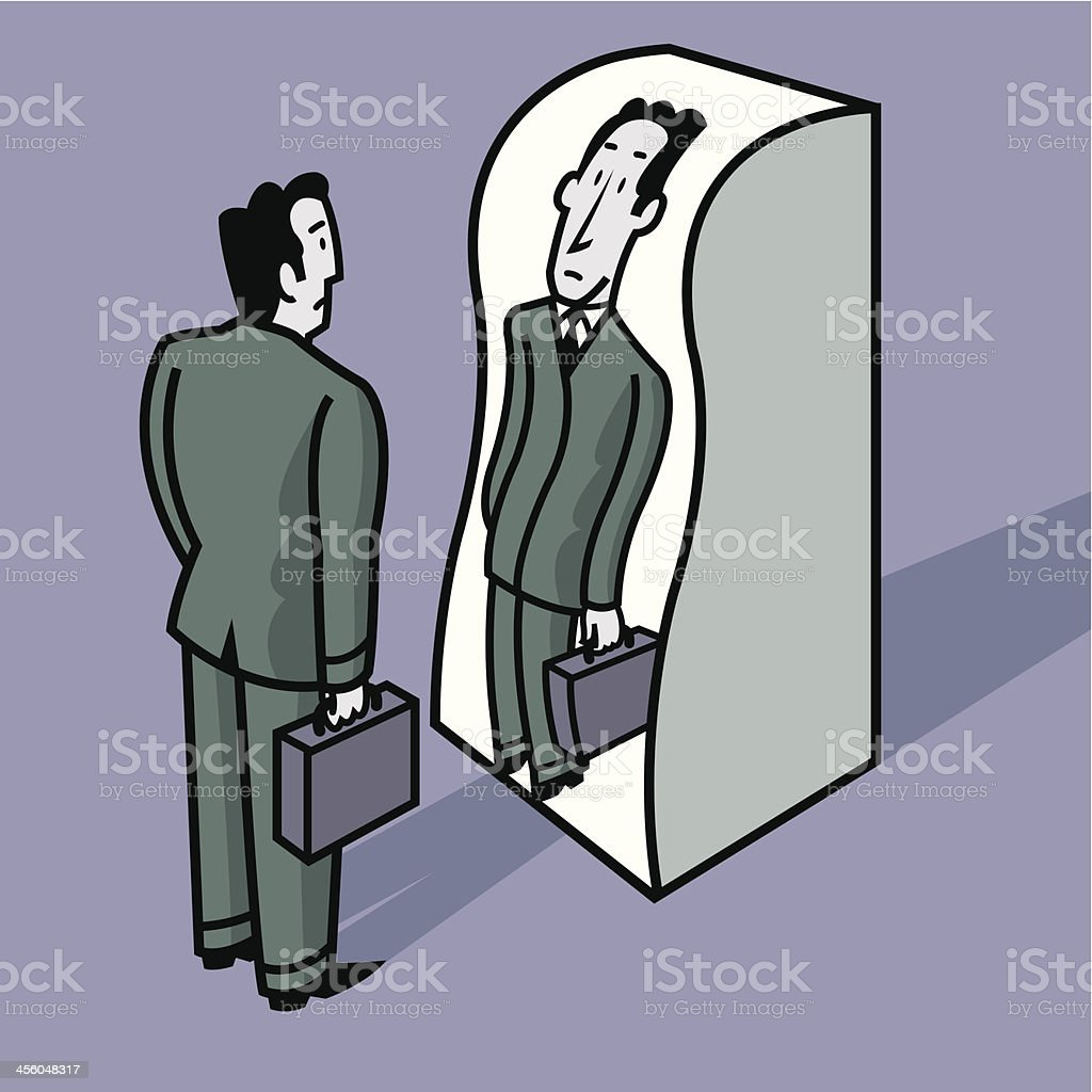 man in front of a distorting mirror vector art illustration