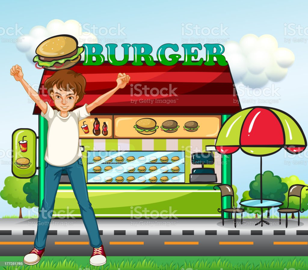 Man in front of the burger stand royalty-free stock vector art
