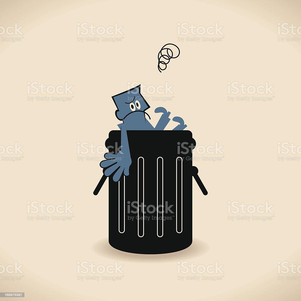 Man in Garbage Bin royalty-free stock vector art