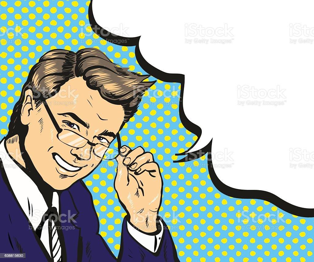 Man in glasses pop art speech bubble vector illustration vector art illustration
