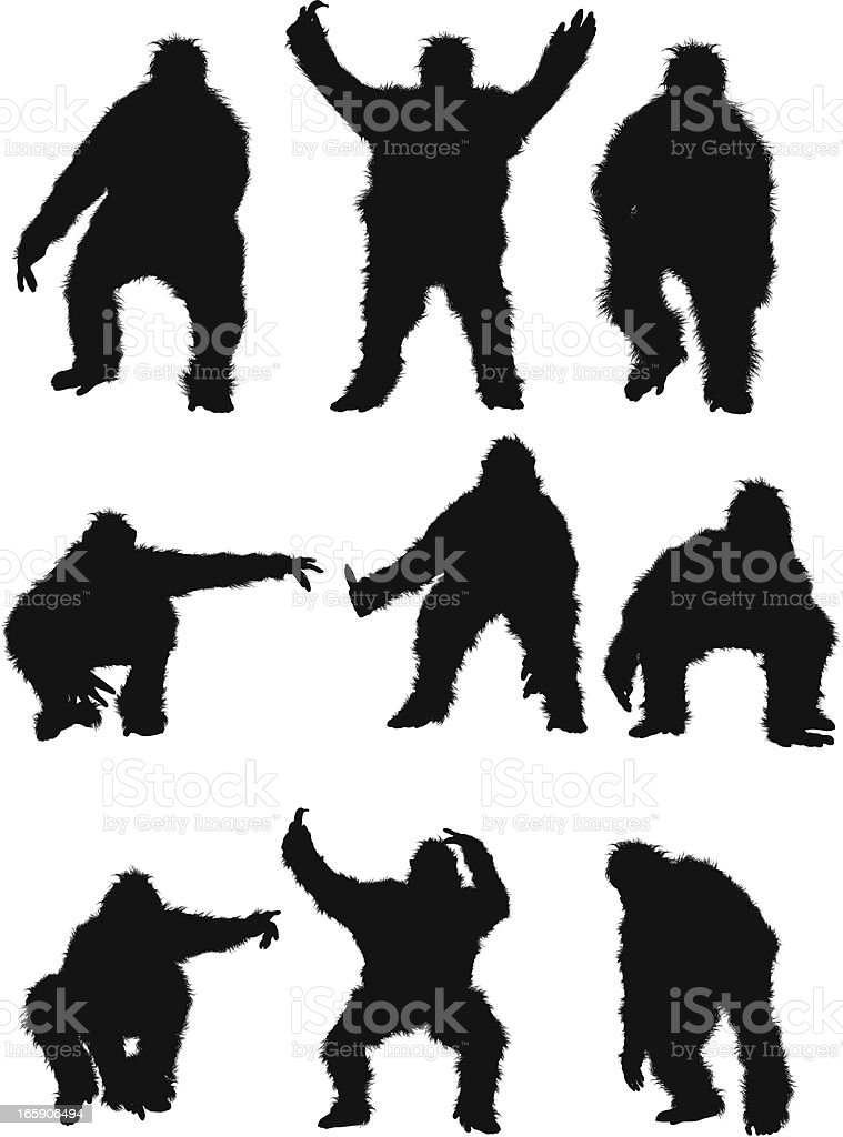 Man in gorilla costume vector art illustration