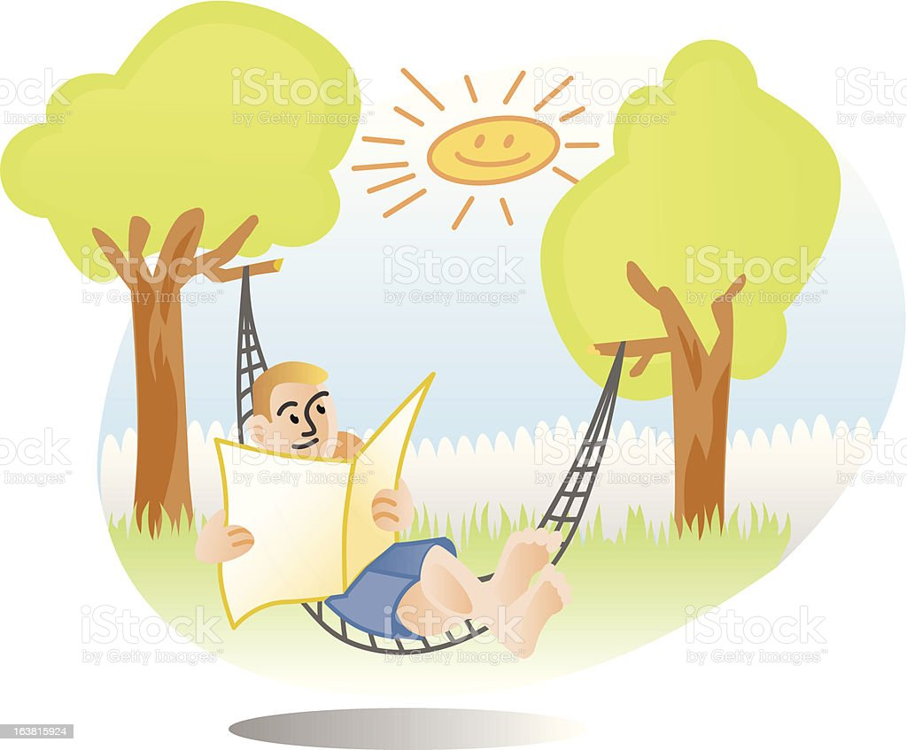 man in hammock enjoying sunny day royalty-free stock vector art