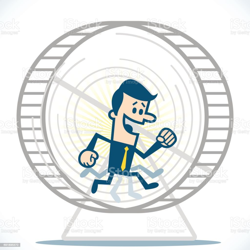 Man in hamster wheel vector art illustration