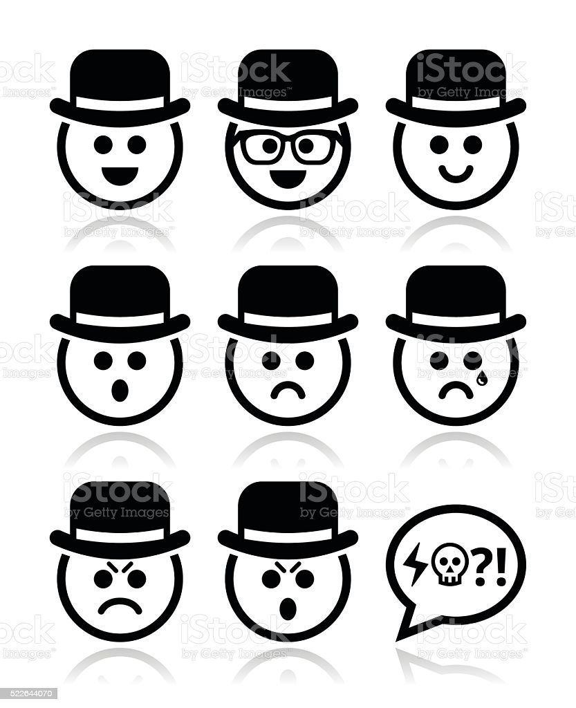 Man in hat faces vector icons set vector art illustration