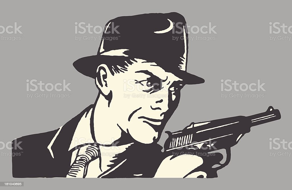 Man in Hat Holding Pistol vector art illustration