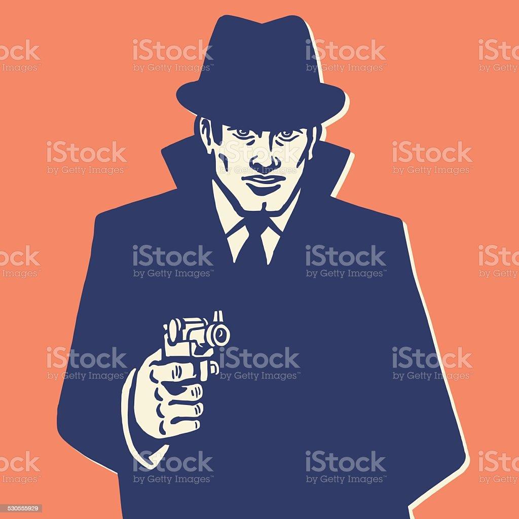 Man in Hat Pointing Gun vector art illustration