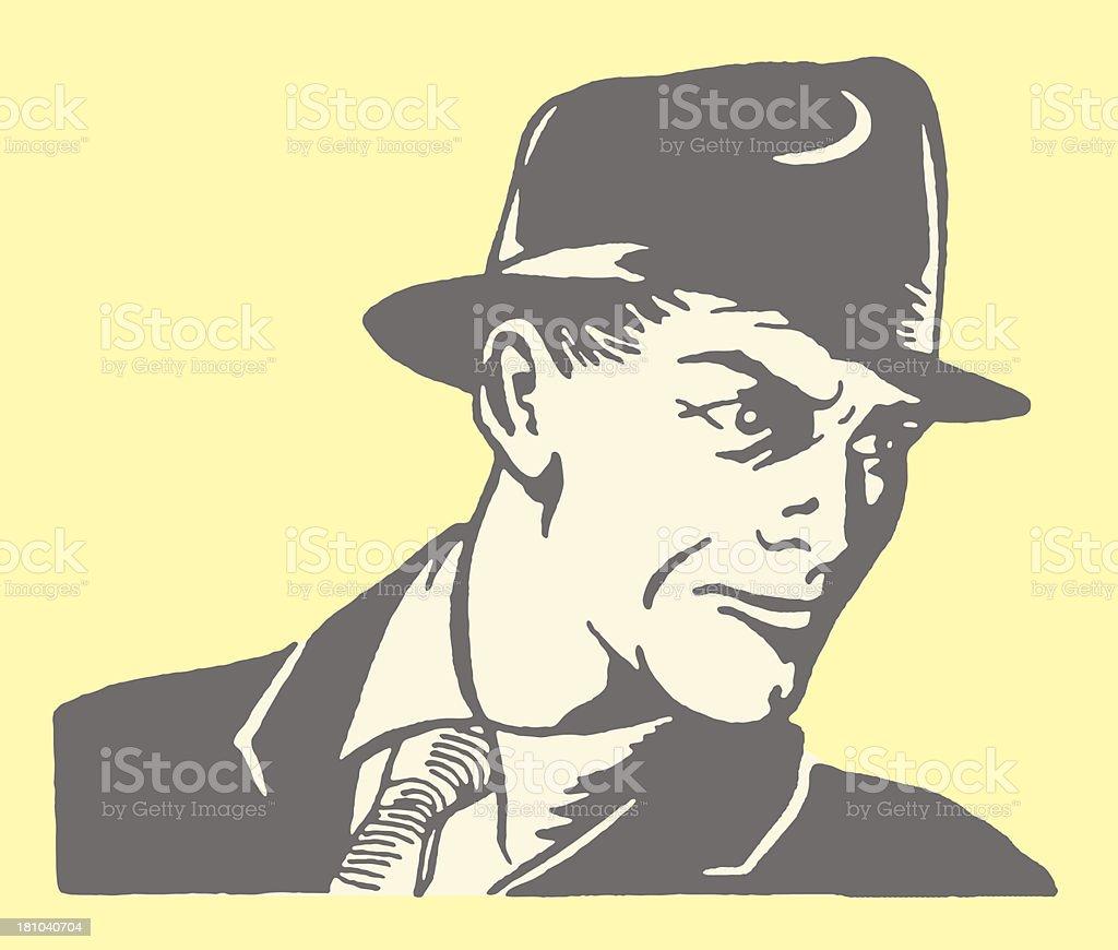 Man in Hat vector art illustration