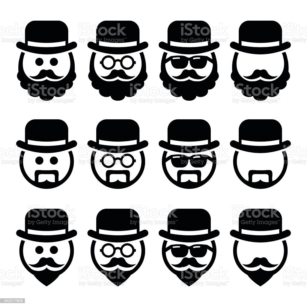 Man in hat with beard and glasses icons set vector art illustration