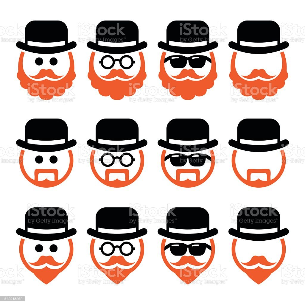Man in hat with ginger beard and glasses icons set vector art illustration